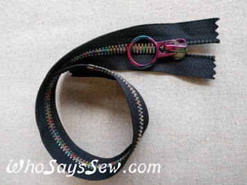 Rainbow Metal Teeth Closed Ended Zipper with a Rainbow Iridescent Ring Pull. 30cm. Size 8. Nickel Free.