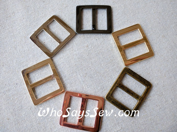 "2x 2.5cm(1"") Alloy Tri Glide Strap Sliders in 2 Finishes"