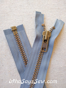 "YKK Size 8 Separating/Open Ended 75cm(30"") Zipper with Antique Brass Metal Teeth. Heavy Weight for Jackets. MID GREY Tape"