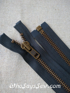 "YKK Size 5 Separating/Open Ended 75cm(30"") Zipper with Antique Brass Metal Teeth. Medium Weight for Jackets/Vests. Charcoal Grey Tape"