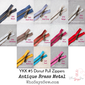 YKK Closed-Ended Antique Brass Metal Zipper with Donut Pull, Size 5, 60cm. 12 Colours