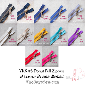 YKK Closed-Ended Silver Brass Metal Zipper with Donut Pull, Size 5, 60cm. 12 Colours