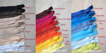 *40 Pieces* 20cm Closed-ended All-Purpose Nylon Dress Zipper in 13 Colours. Quality Brand.