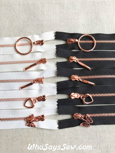 Shiny Rose Gold Metal Teeth Zipper 15cm/18cm/20cm/30cm/50cm. 4 Pull Designs. Black, White, Off-White Tape. Size 3 Closed Ended. Nickel Free