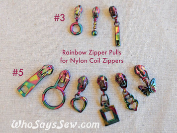 3x RAINBOW IRIDESCENT ZIPPER SLIDERS/PULLS ONLY for Continuous SIZE3/SIZE 5 NYLON COIL Chain Zipper