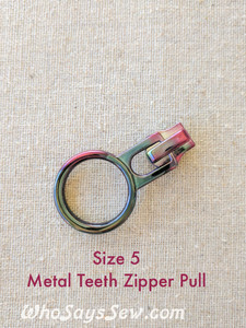 2x SIZE 5 RAINBOW IRIDESCENT ZIPPER SLIDERS/PULLS ONLY for METAL TEETH SIZE 5 Zippers
