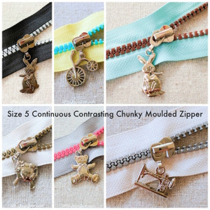 4x Size 5 Chunky Plastic Moulded ZIPPER PULLS ONLY in Metallic Colours. Fun Designs. LOCKING