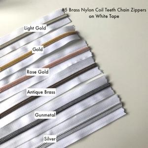 (#5) *SIZE 5* Zipper Tape Only- 1m Metallic Nylon Chain/Continuous Zip on WHITE TAPE (Size 5)