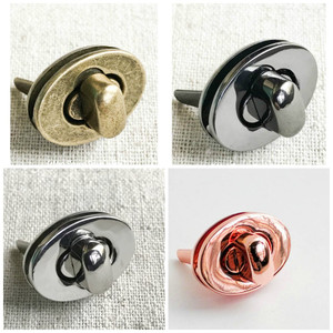 Small Oval Twist/Turn Lock in Rose Gold, Silver, Gunmetal, Antique Brass. Screw Back. 2.3cm x 1.7cm. High Quality. Nickel Free