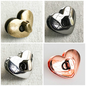 Heart Shaped Twist/Turn Lock in Rose Gold, Silver, Gunmetal, Antique Brass. Screw Back. 3.3cm x 2.6cm Shape. High Quality. Nickel Free