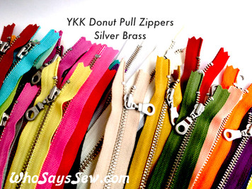 "20cm/25cm/30cm (8""/10""/12"")YKK Closed-Ended Silver Brass Metal Zipper with Donut Pull. Nickel Free"