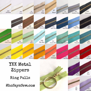 "*CHOOSE 20 ZIPPERS IN 5 COLOURS* 30cm (12"") YKK Closed-Ended Golden Brass Metal Zippers with Ring Pulls. Nickel Free"