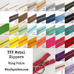 """*CHOOSE 20 ZIPPERS IN 5 COLOURS* 30cm (12"""")YKK Closed-Ended Silver Brass Metal Zippers with Ring Pulls. Nickel Free"""