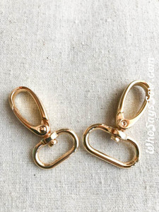 "2x Medium Weight Push Gate Swivel Snap Hooks 2cm (3/4"") or 2.5cm (1"") in REAL GOLD. Nickel Free"