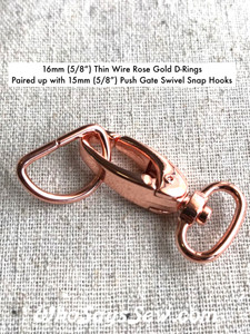"5 SETS x 1.5cm (5/8"") Rose Gold Push Gate Swivel Snap Hooks AND Thin Wire D-Rings. Nickel Free."