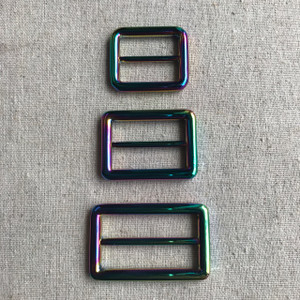 "Rainbow Iridescent Alloy Round Edge Sliders (Tri-Glides) in 2.5cm (1""), 3.2cm (1 1/4"") and 3.8cm (1 1/2"")"