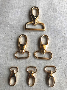 "2x REAL GOLD Swivel Hooks in 1.3cm (1/2""), 1.6cm (5/8""), 2cm (3/4""), 2.5cm (1""), 3.2cm (1 1/4"")"