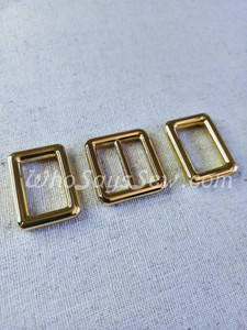 """2CM (3/4"""") REAL GOLD ALLOY SLIDER(TRI-GLIDES) AND RECTANGLE RINGS"""
