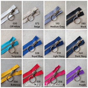 *CHOOSE 12 ZIPPERS IN 4 COLOURS* YKK Closed-Ended Silver Brass Metal Zipper with RING Pull, Size 5, 60cm. 12 Colours