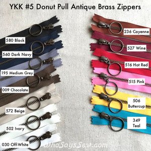 "*CHOOSE 12 ZIPPERS IN 4 COLOURS* 60CM/23.6"" YKK CLOSED-ENDED ANTIQUE BRASS METAL ZIPPERS WITH RING PULLS, SIZE 5. 13 COLOURS"