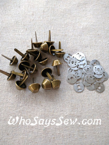 *BULK 100 pcs* Large Bucket Bag Feet in Light Gold or Antique Brass. 15mm. Come with Washers