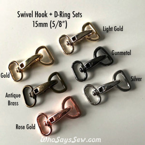 "2 SETS x 1.5cm (5/8"") Swivel Snap Hooks and D-Rings in 6 High Quality Finishes"