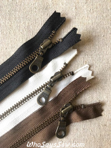 "10cm/12cm/15cm/18cm(4""/4.7""/6""/7"") YKK Closed-Ended Antique Brass Metal Zipper with Donut Pull."