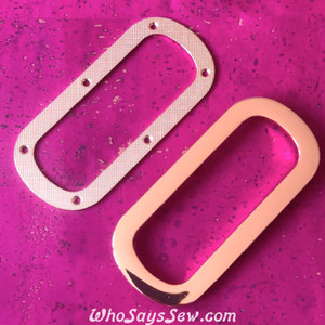 1 Pair x Screw Back, Curved Rectangular Eyelet/Grommet Bag Handles, Shiny Rose Gold Finish- High Quality Nickel Free