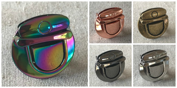 Medium Tongue/Thumb Lock in Silver, Rose Gold, Iridescent Rainbow, Gunmetal, Antique Brass. 3.1cm x 3.2cm. High Quality.
