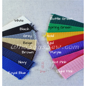 "Polyproplene Webbing by the Metre in Widths 25mm/1"". Many Colours. Australian Made"