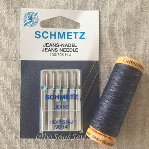 SET of Gutermann Jeans Thread and Pack of 5 Schmetz Jeans needles in 90/14