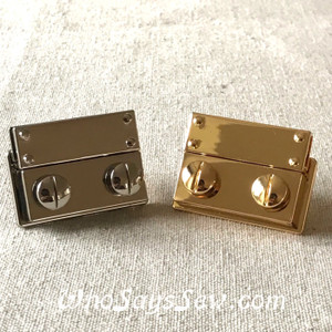 Medium Push Release Lock in Silver and Real Gold. 2.9cm x 3.9cm. High Quality.