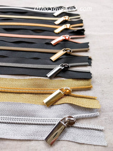 **HARDLY SECONDS** 4 ZIPPER SLIDERS/PULLS for Continuous SIZE 5 Nylon Chain Zipper- Antique Brass, Gunmetal, Light Gold or Gold.