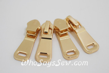(#5) *Size 5* 4 ZIPPER SLIDERS/PULLS for Continuous SIZE 5 Nylon Chain Zipper- curved with cutout. Gold Only. Nickel Free.