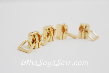 (#5) *Size 5* 4 ZIPPER SLIDERS/PULLS for Continuous SIZE 5 METAL TEETH Chain Zipper- Mini-D. Gold Only. Nickel Free.