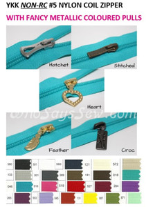 NON-RC YKK FANCY PULL Continuous #5 SIZE 5  Nylon Coil/Polyester Chain Zipper in  21 Colours. **NOT COMPATIBLE WITH RC**