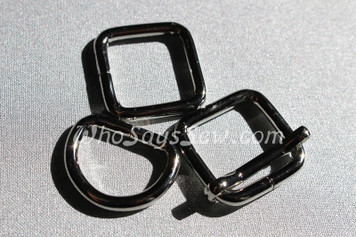 "10x 2cm (3/4"") Thick Wire Chunky Metal D-Rings, Rectangle Rings OR Adjustable Sliders in Shiny Nickel."