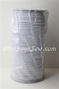Whole Roll of 250 Metres x Braided Elastic in 0.3cm/3mm. White.