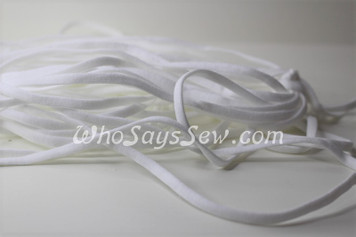 1 Metre of Soft Flat Elastic in 0.4cm/4mm in WHITE for Face Masks.