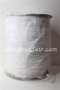 Whole Roll of 250 Metres x Soft Flat Elastic in 0.4cm/4mm for Maskmaking. White.