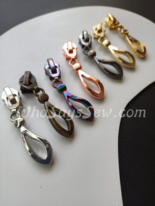 "(#5) *Size 5* 4 ZIPPER SLIDERS/PULLS for Continuous SIZE 5 Nylon Chain Zipper- ""Artsy Teardrop"". 7 Finishes. Nickel Free."