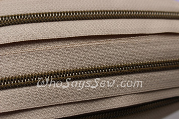 (#5) *SIZE 5* Zipper Tape Only- 1m Antique Brass  Metallic Nylon Chain/Continuous Zip on Light Tan TAPE