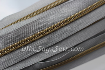 (#5) *SIZE 5* Zipper Tape Only- 1m Antique Brass  Metallic Nylon Chain/Continuous Zip on Mid Grey  TAPE