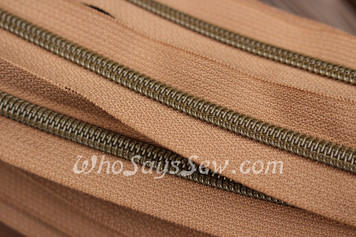 (#5) *SIZE 5* Zipper Tape Only- 1m Antique Brass  Metallic Nylon Chain/Continuous Zip on Medium Tan TAPE