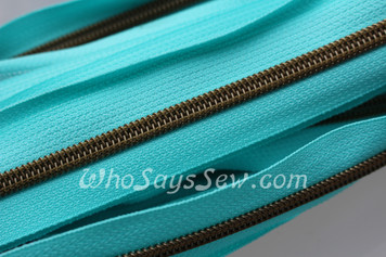 (#5) *SIZE 5* Zipper Tape Only- 1m Antique Brass  Metallic Nylon Chain/Continuous Zip on Ocean Blue TAPE