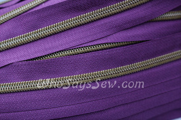 (#5) *SIZE 5* Zipper Tape Only- 1m Antique Brass  Metallic Nylon Chain/Continuous Zip on Bright Purple TAPE