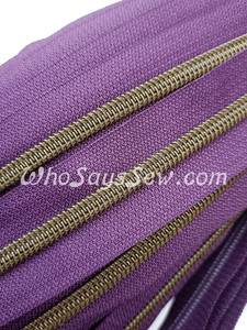 (#5) *SIZE 5* Zipper Tape Only- 1m Antique Brass  Metallic Nylon Chain/Continuous Zip on Damson Purple TAPE