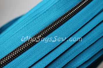 (#5) *SIZE 5* Zipper Tape Only- 1m Gunmetal  Metallic Nylon Chain/Continuous Zip on Dark Teal TAPE