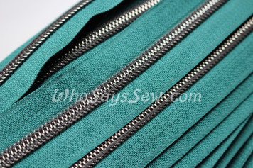 (#5) *SIZE 5* Zipper Tape Only- 1m Gunmetal  Metallic Nylon Chain/Continuous Zip on Dark Forest Green TAPE