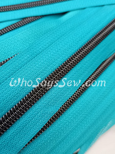 (#5) *SIZE 5* Zipper Tape Only- 1m Gunmetal  Metallic Nylon Chain/Continuous Zip on Teal TAPE